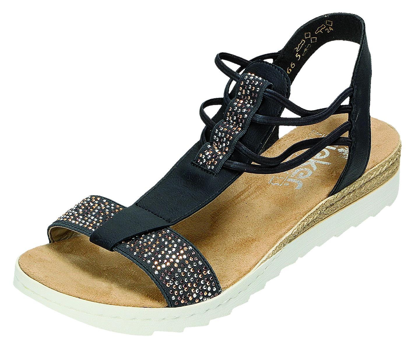 Rieker Damen Sandalen Pantolette Damen Sandalette Blau 63062 14 LAKE | eBay