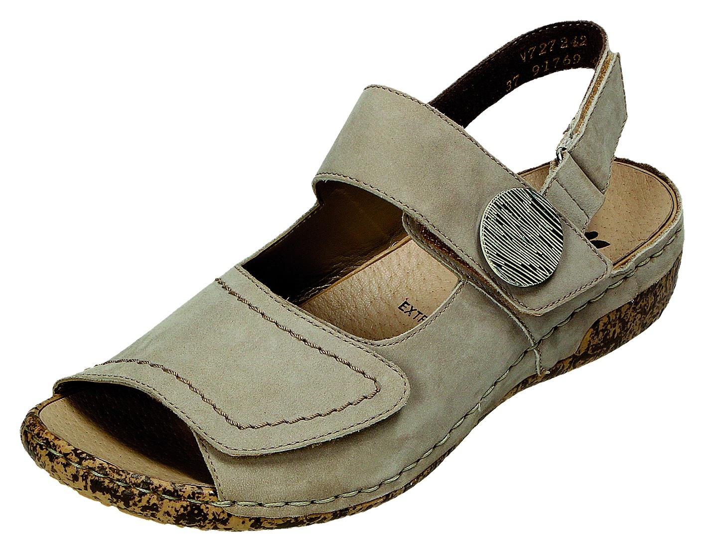 Rieker Damen Sandale-Pantolette D.Klettsand. Grau V7272 42 STEEL