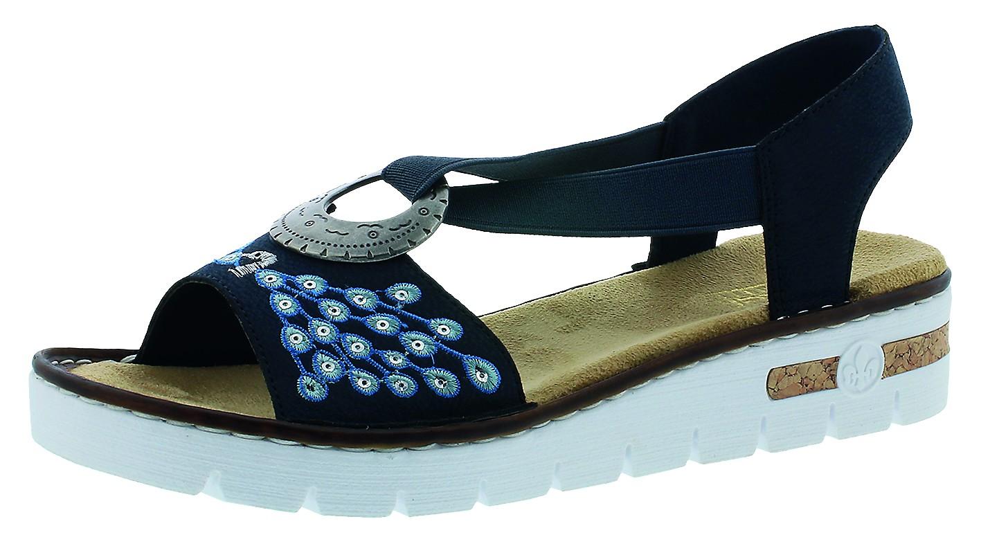 Rieker Damen Sandalen-Pantolette D.Sandalette Blau 610D2 14 PAZIFI
