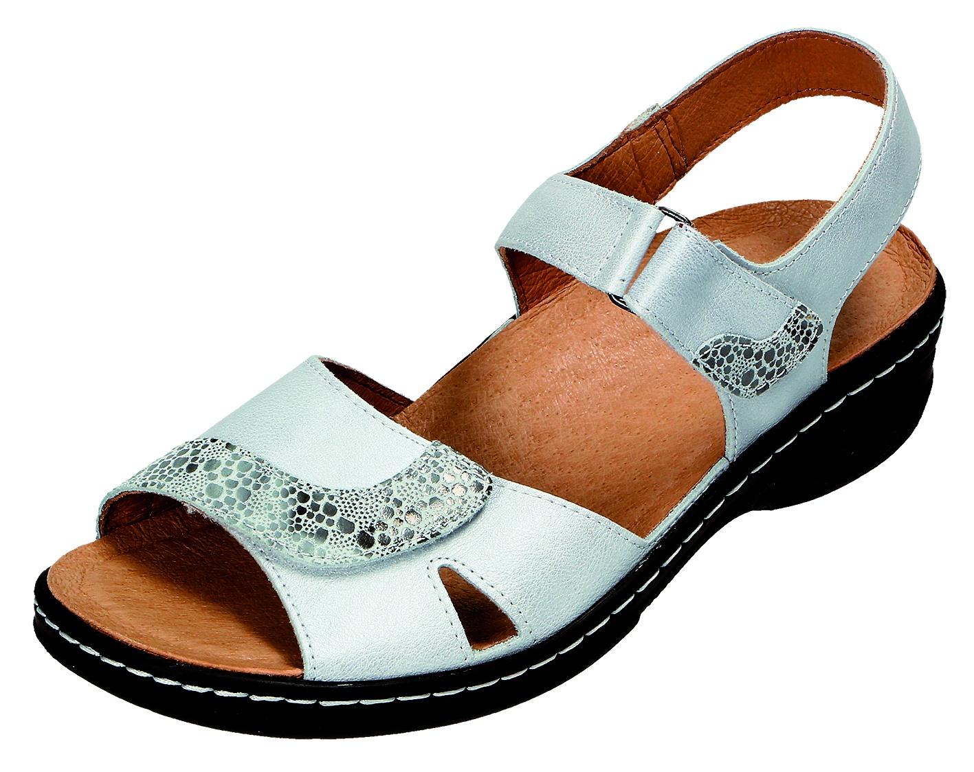 DocComfort Damen Sandale-Pantol.bequem D.Sandaleette Grau 31.005 ROHWEISS