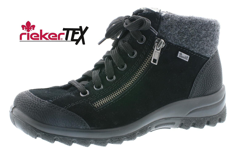Rieker Damen Schuhe Stiefel Stiefelette Damen-RV-Stiefel Schwarz L7132 01 SCHWAR