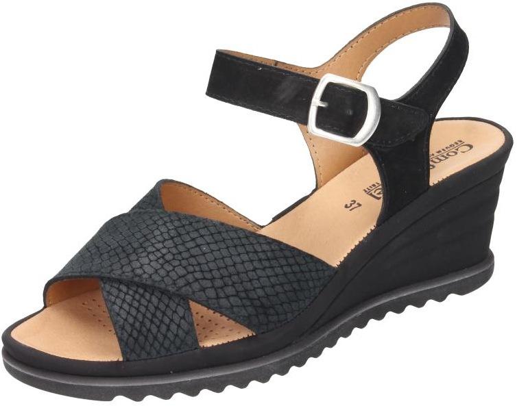 Comfortabel Damen Schuhe Damen-Sandale schwarz Nubukleder 710827