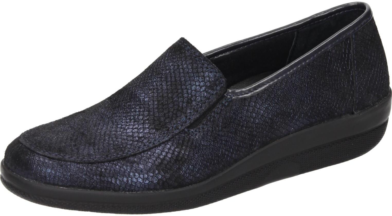 Comfortabel Damen Schuhe Damen-Slipper - G blau Geprägtes Leder 942335