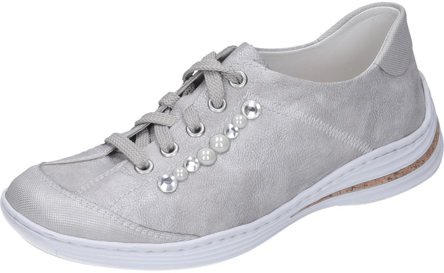 Details zu Rieker Damen Schuhe Schnürer silber Synthetik NEU