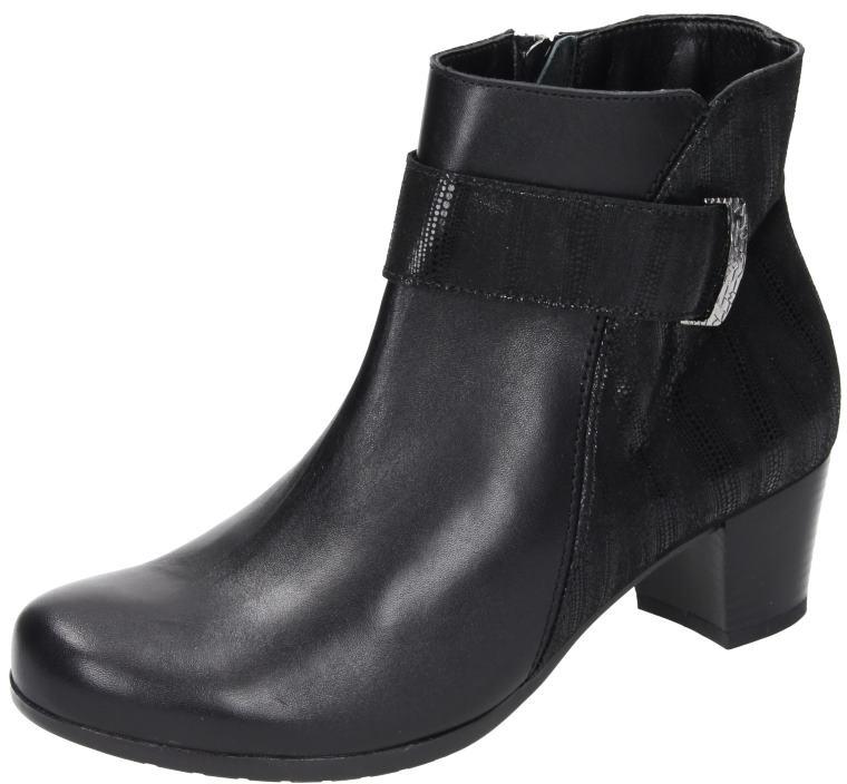 Comfortabel Damen Schuhe Damen-Stiefelette - H schwarz Glattleder 961558