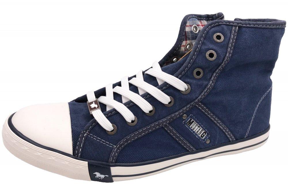 Details zu MUSTANG Herren Sneaker Jeans Blau High Top Boots Schuhe Canvas 4058 504 841