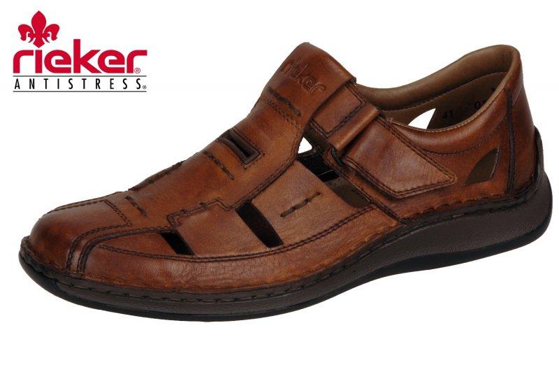 Details zu Rieker Herren Slipper Braun durchbrochen Sandale Schuhe 05284 24