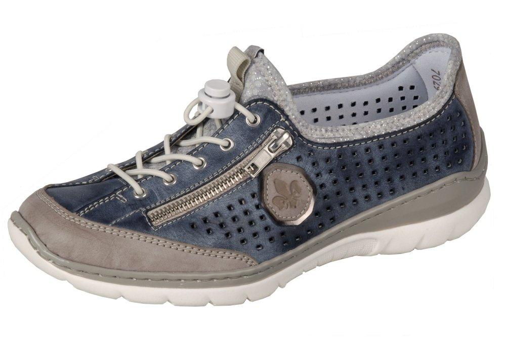 Rieker Damen Sommer Schuhe Sneaker Slipper Blau Beige Leder yfMHw