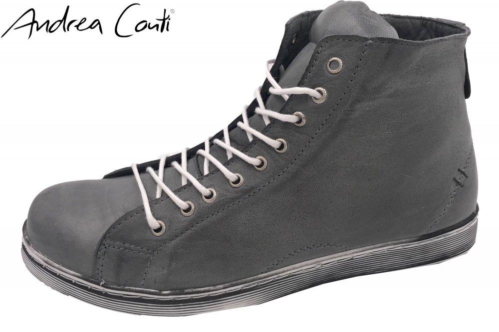 Andrea Conti High Top Leder Sneaker Grau