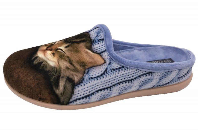 Damen Hausschuh Pantoffel Katze Blau