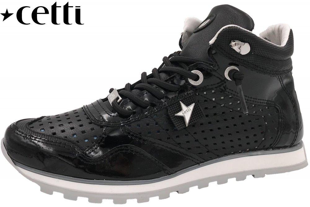 Cetti Damen Sneaker High Schwarz Lack