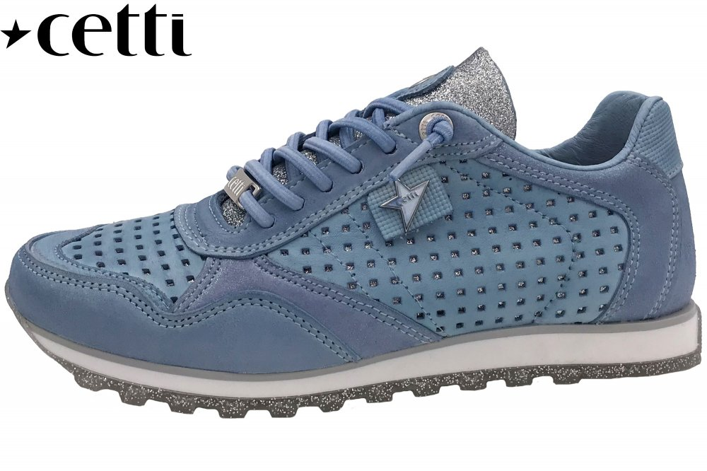 Cetti Damen Sneaker Blau Glitter