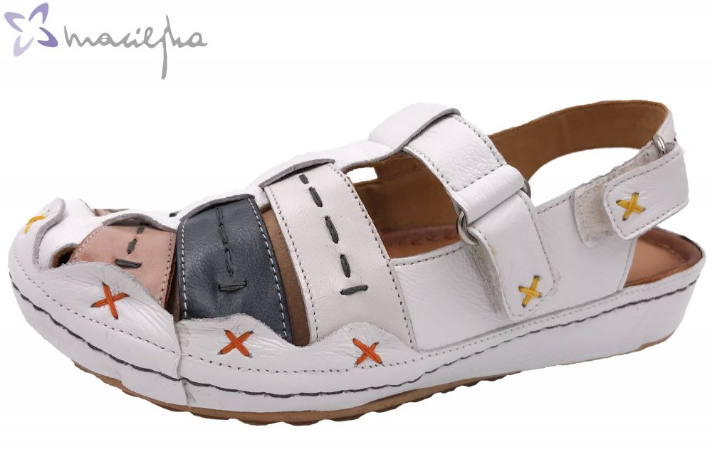 Maciejka Damen Sandale Weiß-Kombi