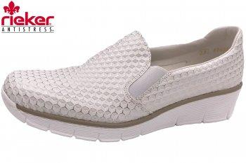 Rieker Damen Slipper Weiß Silber f3e0746612
