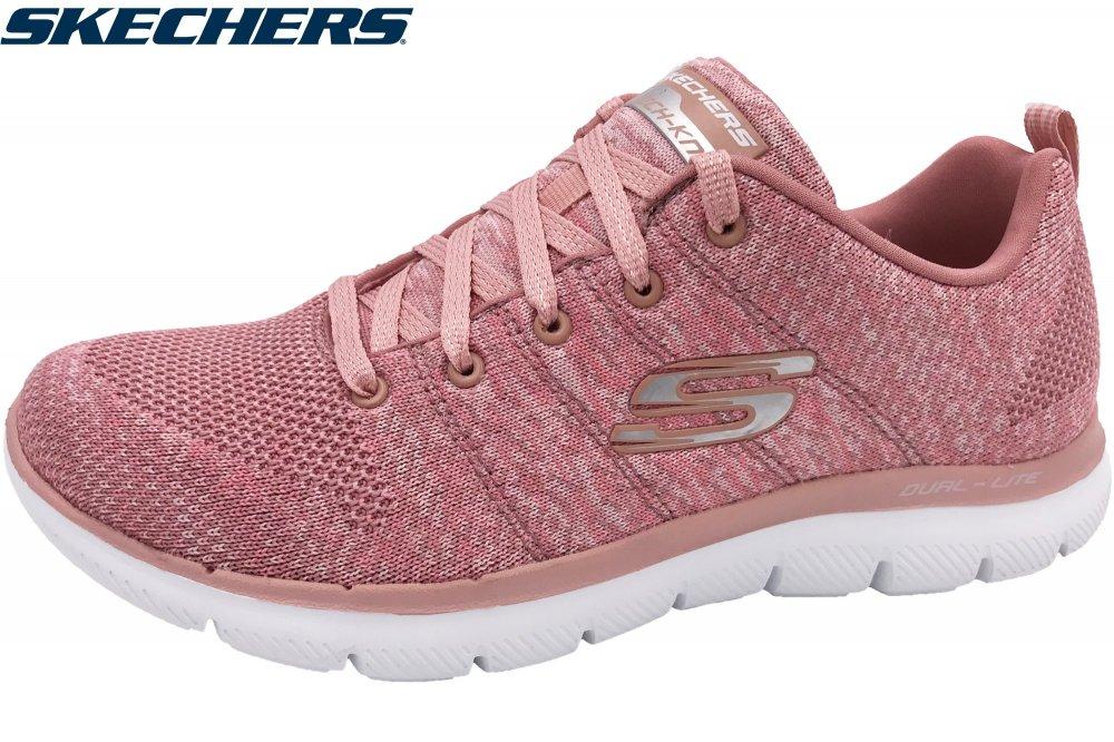 Details zu Skechers Damen Flex Appeal 2.0 Rosa Sneaker Schuhe 12756 ROS