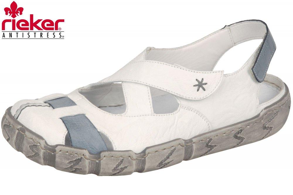 Details zu Rieker Damen Ballerina Slipper Weiß Blau Sommer Schuhe Sandale L0376 80 NEU