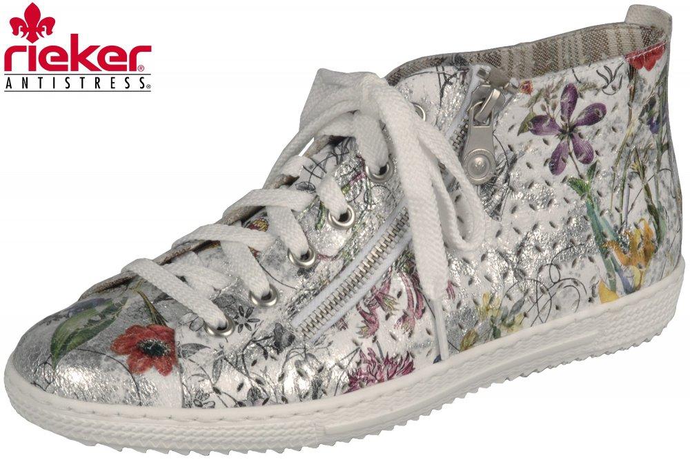 official photos 5520b 1a1a1 Details zu Rieker Damen Sneaker High Ice Multi Blumen Sommer Schuhe  Schnürschuh L9426-90