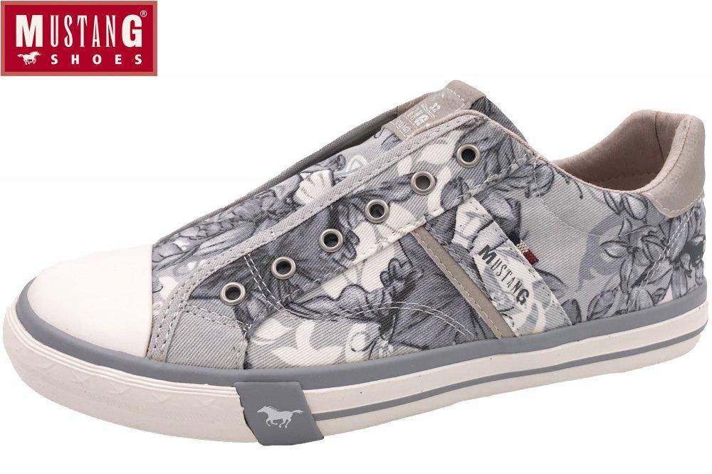 Mustang Damen Canvas Slipper 1146-402 Sneaker Slip-On, Schuhgröße:41;Farbe:Grau