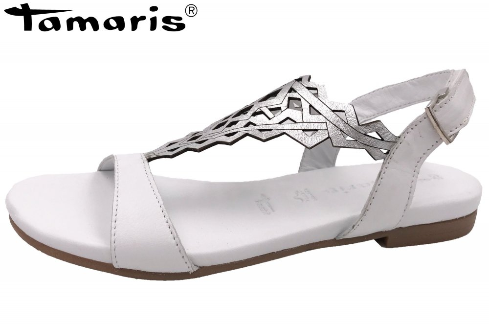 95dab421f332 Tamaris Damen Sandale Kim Weiß Silber Sandalette Schuhe NEU 1-1 ...