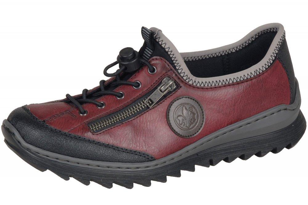Details zu Rieker Damen Komfort Sneaker Weinrot Schuhe Schnürschuh Rot NEU M6269 00