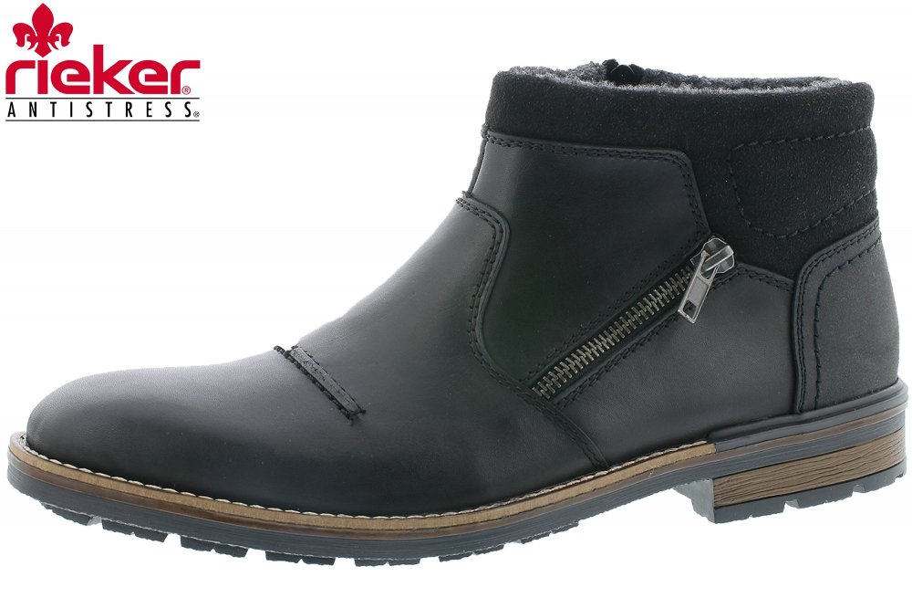 uk availability d6ea3 263ac Rieker Herren Winter Boots Schwarz Business