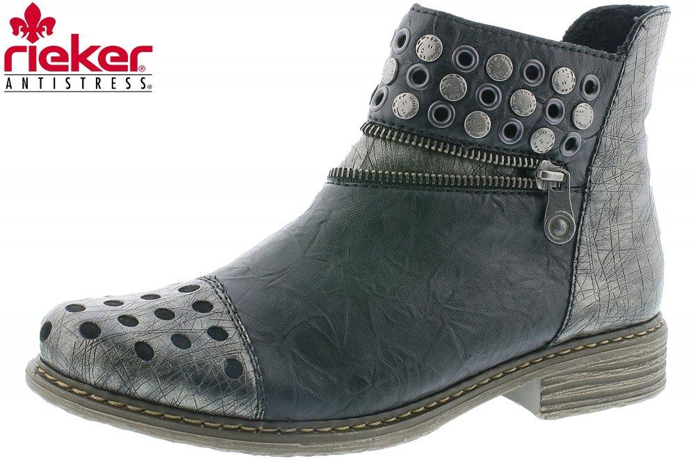 Rieker Damen Boots Schwarz Metallic