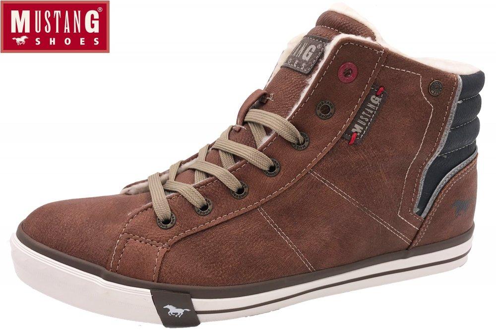 watch 86f26 032b1 Mustang Herren Boots Kastanie Sneaker High