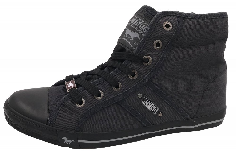 finest selection 5ae36 ca74c Details zu Mustang Damen Sneaker High Graphit Schuhe 1099-502-259