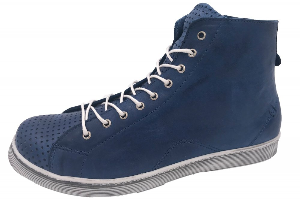 huge selection of 7c941 f69cc Andrea Conti High Top Leder Sneaker Blau