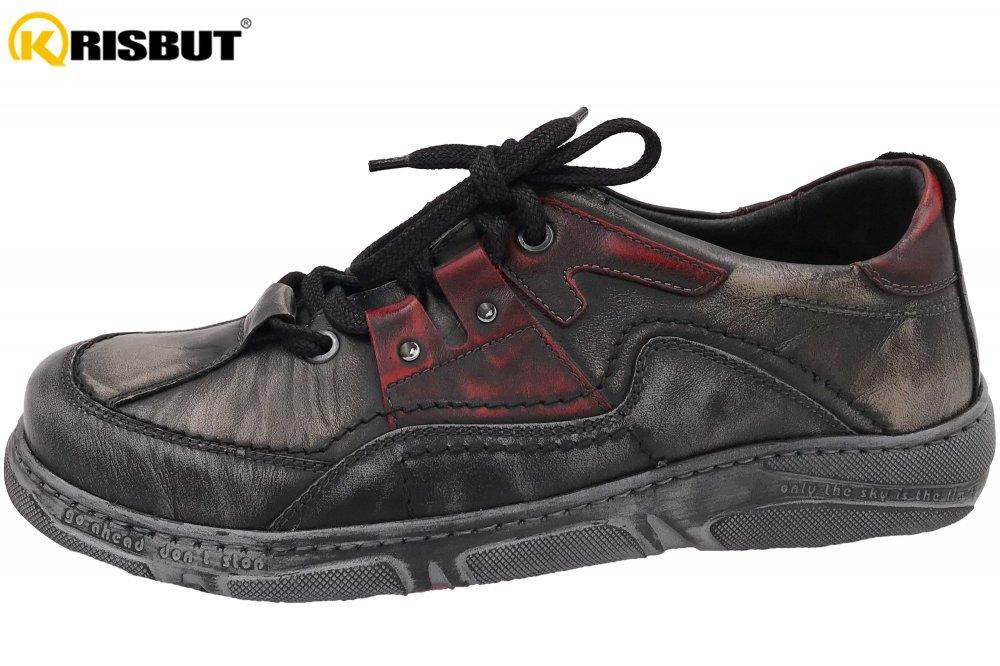 Krisbut Herren Sneaker Grau-Rot
