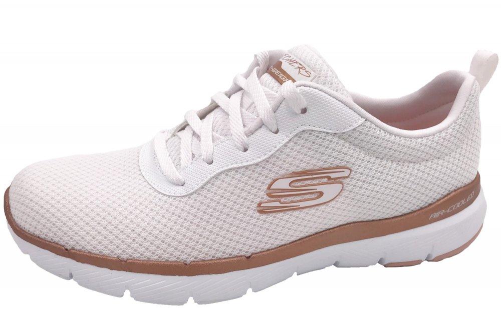 Details zu SKECHERS Damen Sneaker Flex Appeal 3.0 WeißBronze Schuhe 13070 WTRG