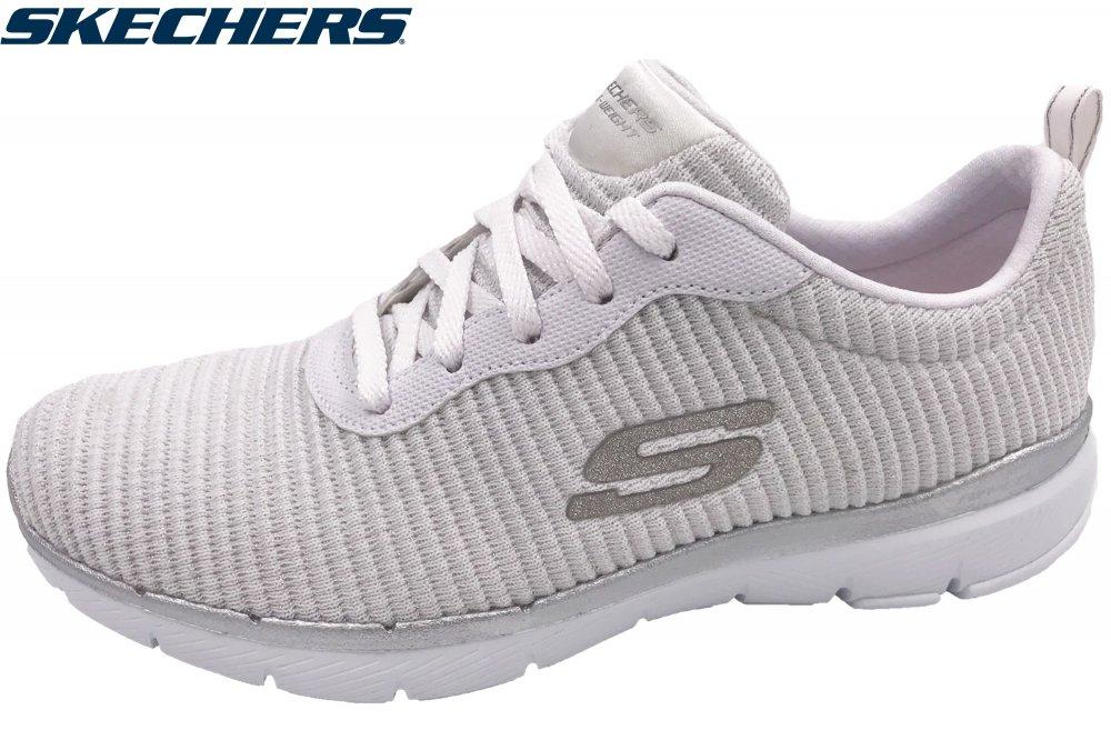 Skechers Damen Flex Appeal 3.0 Weiß/Silber