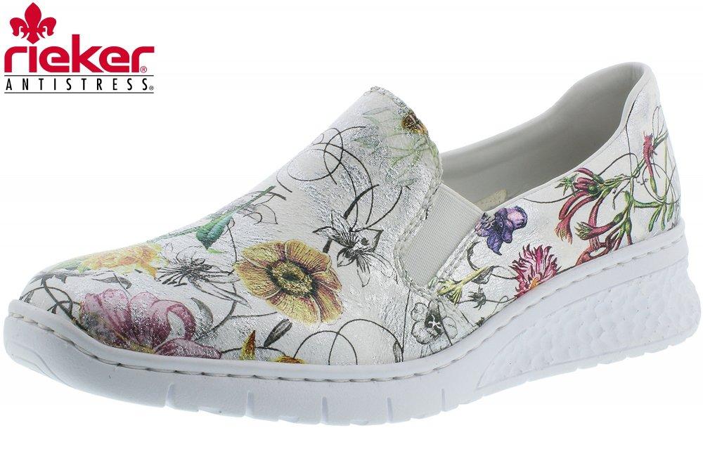 Rieker Damen Slipper Weiß Blumen