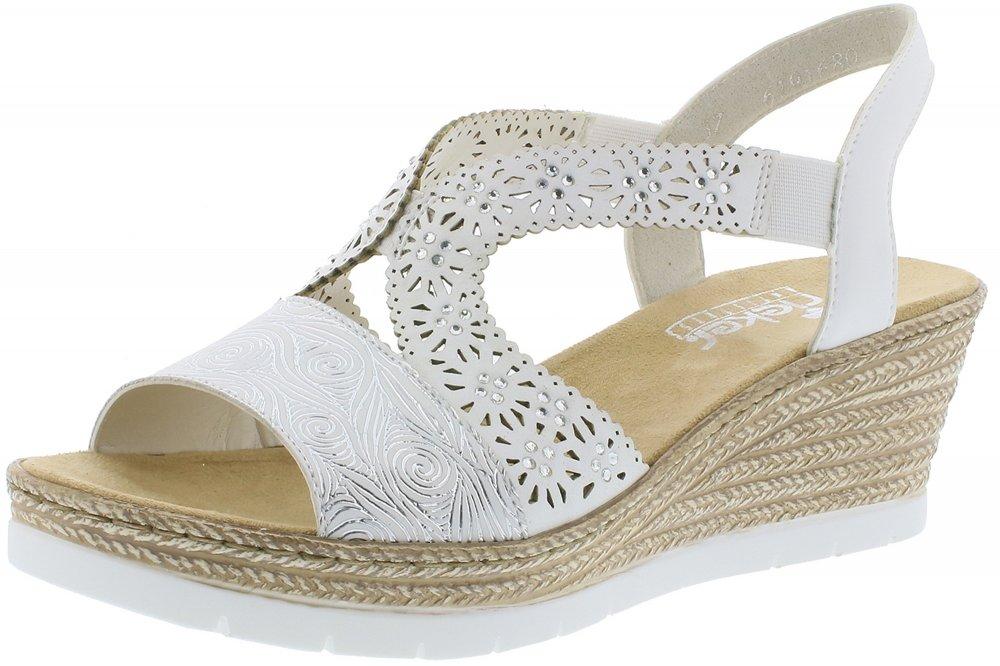 RIEKER Sandale Damen, Weiß, Größe 38 | Sandalen damen