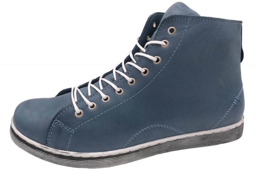 Andrea Conti High Top Leder Sneaker Blau