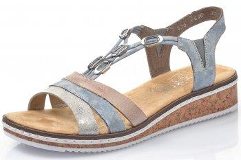 Rieker Damen Sandale Blau Kombiniert