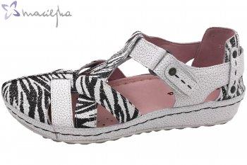 Maciejka Damen Sandale Schwarz-Weiß