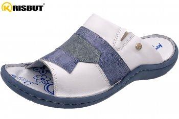 Krisbut Damen Pantolette Weiß Blau