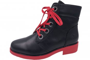 2 GO FASHION Damen Boots Schwarz Rot