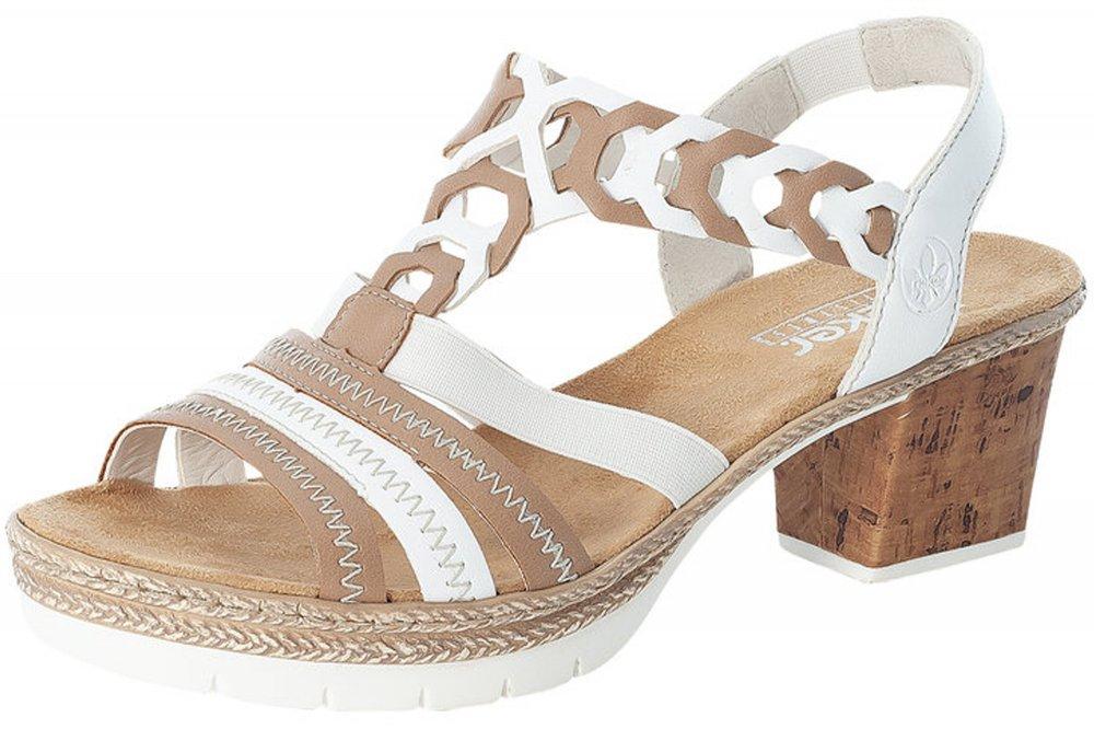Rieker Damen Sandalette Weiß Beige