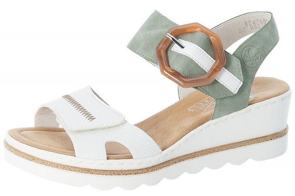 Rieker Damen Sandalette Weiß Mint mit Schnalle
