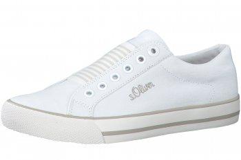 s.Oliver Damen Canvas Sneaker Weiß