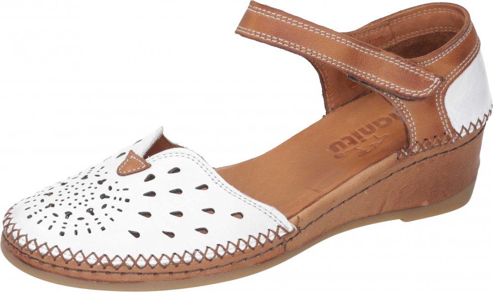 Manitu Damen Sandale Weiß Braun