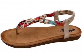 2 Go Fashion Damen Sandale Braun Bunt