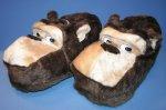 Hausschuhe Plüsch Affe Braun