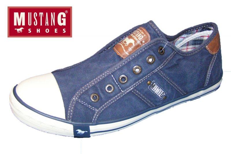 MUSTANG Herren Sneaker Jeans Blau Halbschuhe Schuhe Canvas Slipper ... b28b6ccaa2