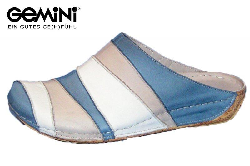 25612d24c7a04 Damen Geschlossen Gemini Leder Schuhe Pantolette Blau Kitty 32091 ...