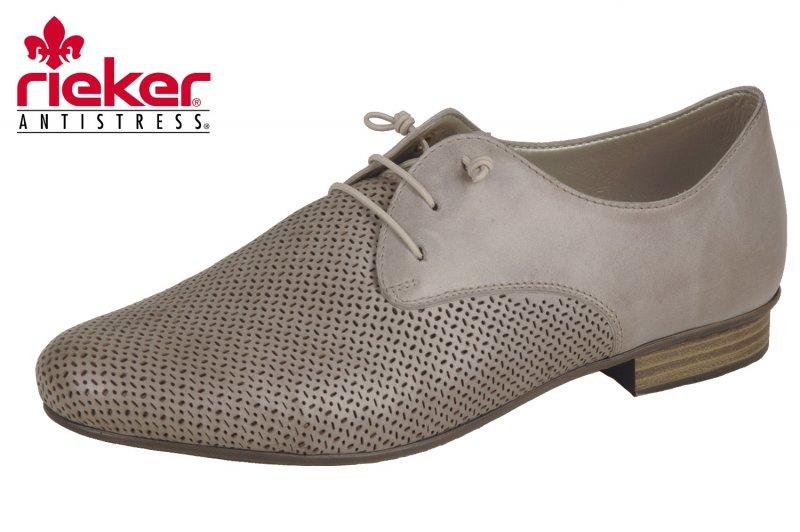 Details zu Rieker Damen Halbschuhe Sneaker Schnürer Taupe Grau Beige 51945 42 NEU