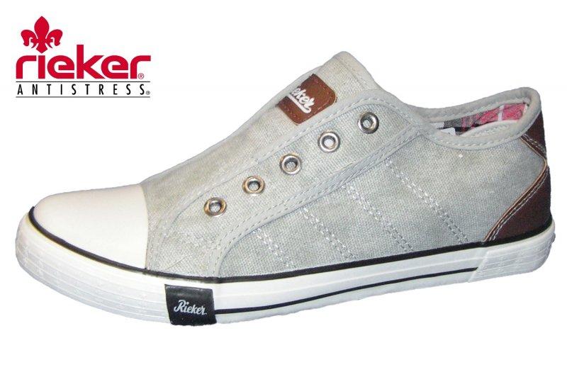 d7c0a9c19994 Rieker Damen Canvas Sneaker Grau Leinen Halbschuhe Slipper M2270-40 ...