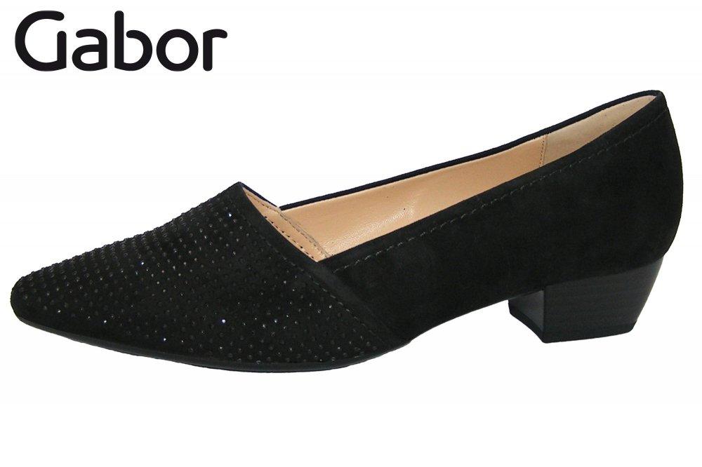 Gabor Damen Pumps Schwarz mit Strasssteinchen samtige Leder Schuhe NEU 75134-17